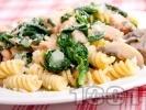 Рецепта Паста с гъби, сьомга и спанак